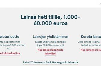 Palvelumme suosituin pankki on edelleen Bank Norwegian